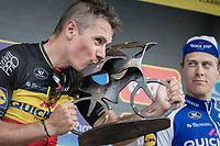 race winner Philippe Gilbert (BEL/Quick Step floors) kissing his trophy on the podium<br /> <br /> 101th Ronde Van Vlaanderen 2017 (1.UWT)<br /> 1day race: Antwerp › Oudenaarde - BEL (260km)
