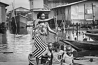 Fishing village settlement built on stilts above Lagos Lagoon in Nigeria.