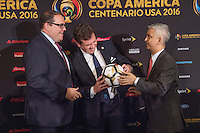 New York, NY - Friday June 24, 2016: CONMEBOL president Alejandro Dominguez, CONCACAF president Victor Montagliani, Copa America Local Organizing Committee chairman and U.S. Soccer President Sunil Gulati during a press conference prior to the final of the Copa America Centenario at The Westin New York at Times Square.<br /> <br /> Photo during American Cup USA 2016 Press Conference The Westin New York at Times Square---- Foto durante la Conferencia de Prensa previo a la gran final de la Copa America Centenario USA 2016, en la foto: Alejandro Dominguez, Presidente CONMEBOL, Victor Montagliani, Presidente CONCACAF, Sunil Gulati<br /> <br /> ---24/06/2016/MEXSPORT/ David Leah.