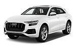 2019 Audi Q8 - 5 Door SUV Angular Front stock photos of front three quarter view