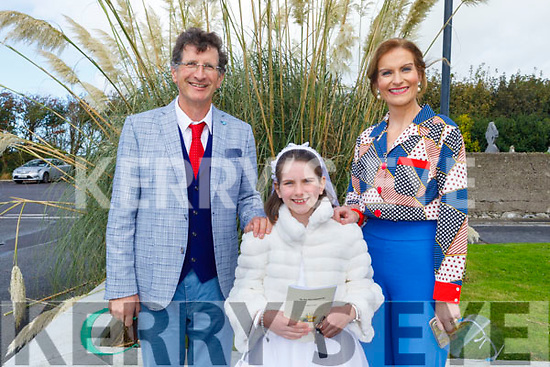 Edele O'Connor Ardfert NS student receiving her First Holy Communion in Ardfert on Saturday with her parents Billy and Mary O'Connor.