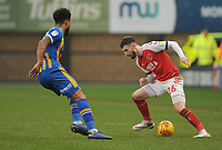 Fleetwood Town's James Husband under pressure from Shrewsbury Town's Aaron Holloway<br /> <br /> Photographer Kevin Barnes/CameraSport<br /> <br /> The EFL Sky Bet League One - Shrewsbury Town v Fleetwood Town - Tuesday 1st January 2019 - New Meadow - Shrewsbury<br /> <br /> World Copyright © 2019 CameraSport. All rights reserved. 43 Linden Ave. Countesthorpe. Leicester. England. LE8 5PG - Tel: +44 (0) 116 277 4147 - admin@camerasport.com - www.camerasport.com