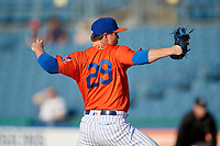 Syracuse Mets pitcher Justin Wilson (29) during an International League game against the Charlotte Knights on June 11, 2019 at NBT Bank Stadium in Syracuse, New York.  Syracuse defeated Charlotte 15-8.  (Mike Janes/Four Seam Images)