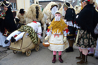 Hungarian Sokácok on the Tuesday procession of the Busojaras Spring  festival 2010 Mohacs Hungary - Stock photos