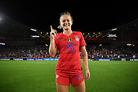 Saint Paul, MN - SEPTEMBER 03: Kristen Hamilton #25 of the United States celebrates  during their 2019 Victory Tour match versus Portugal at Allianz Field, on September 03, 2019 in Saint Paul, Minnesota.
