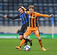 Hull City's Keane Lewis-Potter battles with Rochdale's Aaron Morley<br /> <br /> Photographer Dave Howarth/CameraSport<br /> <br /> The EFL Sky Bet League One - Rochdale v Hull City - Saturday 17th October 2020 - Spotland Stadium - Rochdale<br /> <br /> World Copyright © 2020 CameraSport. All rights reserved. 43 Linden Ave. Countesthorpe. Leicester. England. LE8 5PG - Tel: +44 (0) 116 277 4147 - admin@camerasport.com - www.camerasport.com