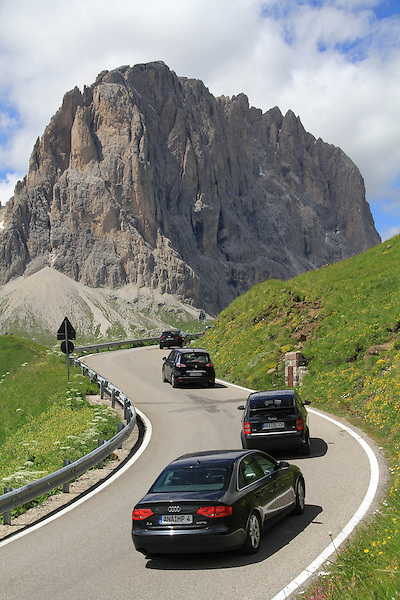 Cars in the Dolomites, northern Italy, Europe.