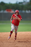 St. Louis Cardinals Collin Radack (43) running the bases during a Minor League Spring Training game against the New York Mets on March 31, 2016 at Roger Dean Sports Complex in Jupiter, Florida.  (Mike Janes/Four Seam Images)