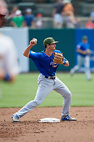Iowa Cubs second baseman Chesny Young (9) throws to first base during a game against the Memphis Redbirds on May 29, 2017 at AutoZone Park in Memphis, Tennessee.  Memphis defeated Iowa 6-5.  (Mike Janes/Four Seam Images)