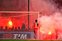 Nicolas Burdisso. Smoke Bombs on the pitch launched by Genoa supporters <br /> Genova 05-01-2016 Stadio Marassi. Football Calcio Serie A 2015/2016 Genoa - Sampdoria / foto Image Sport/Insidefoto