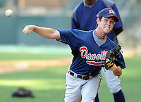 RHP Ryan Weber (2) of the Danville Braves in a game against the Pulaski Mariners on July 19, 2010, at Calfee Park in Pulaski, Va. Photo by: Tom Priddy/Four Seam Images