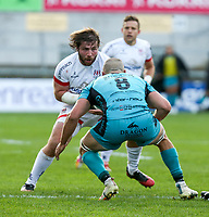 Sunday 25th October 2020 | Ulster vs Dragons<br /> <br /> John Andrew is tackled by Ollie Griffiths during the Guinness PRO14 match between Ulster and Dragons at Kingspan Stadium in Belfast. Photo by John Dickson / Dicksondigital