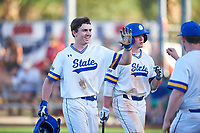South Dakota State Jackrabbits designated hitter Luke Ira (1) celebrates with teammates after hitting a home run during a game against the Northeastern Huskies on February 23, 2019 at North Charlotte Regional Park in Port Charlotte, Florida.  Northeastern defeated South Dakota State 12-9.  (Mike Janes/Four Seam Images)