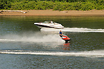 Boating and jet skiing on the Willamette River, Oregon