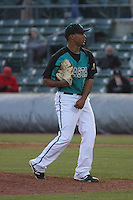 Coastal Carolina Chanticleers pitcher Javier Reynoso #10 on the mound during a game against the North Carolina State Wolfpack at BB&T Coastal Field on February 26, 2012 in Myrtle Beach, SC.  Coastal Carolina defeated N.C. State 3-2. (Robert Gurganus/Four Seam Images)