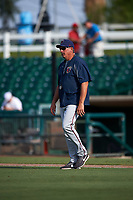 Lancaster JetHawks pitching coach Dave Burba (34) during a California League game against the Inland Empire 66ers at San Manuel Stadium on May 20, 2018 in San Bernardino, California. Inland Empire defeated Lancaster 12-2. (Zachary Lucy/Four Seam Images)