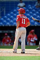 Washington Nationals Pablo O'Connor (11) at bat during a Florida Instructional League game against the Miami Marlins on September 26, 2018 at the Marlins Park in Miami, Florida.  (Mike Janes/Four Seam Images)