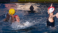 Stanford, CA; Sunday February 7, 2016; Women's Water Polo, Stanford vs Cal; Dani Jackovich faces off with the Cal goal keeper.  The shot was blocked.