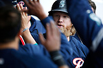 Tacoma Rainiers' Jake Fraley celebrates a home run in a game against the Reno Aces, in Reno, Nev., on Friday, May 28, 2021. <br /> Photo by Cathleen Allison