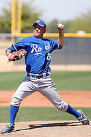 Edgar Osuna #28 of the Kansas City Royals  plays in a minor league spring training game against the Seattle Mariners at the Royals complex on March 26, 2011  in Surprise, Arizona. .Photo by:  Bill Mitchell/Four Seam Images.