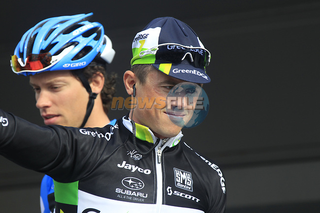 Australian National Champion Simon Gerrans (AUS) GreenEdge Cycling Team at sign on before the start of the 98th edition of Liege-Bastogne-Liege outside the Palais des Princes-Eveques, running 257.5km from Liege to Ans, Belgium. 22nd April 2012.  <br /> (Photo by Eoin Clarke/NEWSFILE).