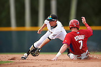 GCL Pirates second baseman Andrew Walker (62) pick a throw as Cole Stobbe (7) slides into second during a game against the GCL Phillies on August 6, 2016 at Pirate City in Bradenton, Florida.  GCL Phillies defeated the GCL Pirates 4-1.  (Mike Janes/Four Seam Images)