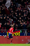 Antoine Griezmann of Atletico de Madrid celebrates scoring the first goal for his team during the La Liga 2017-18 match between Atletico de Madrid and CD Leganes at Wanda Metropolitano on February 28 2018 in Madrid, Spain. Photo by Diego Souto / Power Sport Images