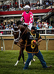 MAY 15, 2021:  Rombauer and Flavien Prat before the Preakness Stakes at Pimlico Racecourse in Baltimore, Maryland on May 15, 2021. EversEclipse Sportswire/CSM
