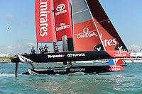 Emirates Team New Zealand, JULY 23, 2016 - Sailing: Glenn Ashby (NZ) helms Emirates Team New Zealand in light winds during day one of the Louis Vuitton America's Cup World Series racing, Portsmouth, United Kingdom. (Photo by Rob Munro/Stewart Communications)