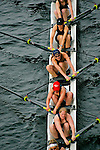 Seattle, Rowing, Windermere Cup Regatta, women's eight oared racing shell from above, Washington State, Pacific Northwest, Lake Washington Rowing Club, .