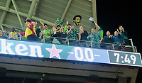LOS ANGELES, CA - OCTOBER 29: Traveling supporters of the Seattle Sounders FC during a game between Seattle Sounders FC and Los Angeles FC at Banc of California Stadium on October 29, 2019 in Los Angeles, California.