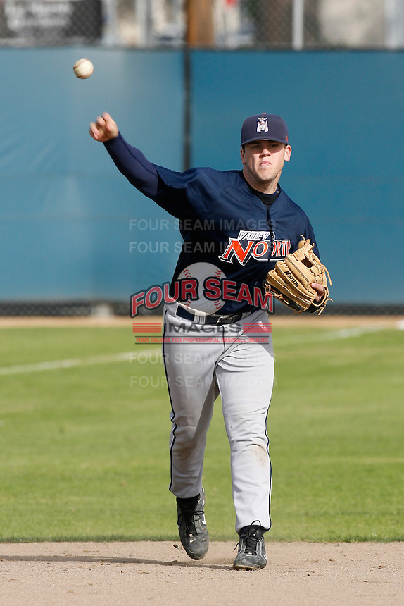 Mike Moustakas of Chatsworth High School during a winter league game against Simi Valley High School at Chatsworth High School on February 10, 2007 in Chatsworth, California. (Larry Goren/Four Seam Images)