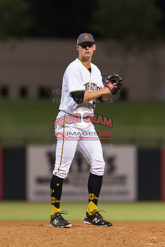 AFL West shortstop relief pitcher Blake Weiman (55), of the Surprise Saguaros and Pittsburgh Pirates organization, gets ready to deliver a pitch during the Arizona Fall League Fall Stars game at Surprise Stadium on November 3, 2018 in Surprise, Arizona. The AFL West defeated the AFL East 7-6 . (Zachary Lucy/Four Seam Images)