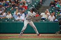 Tri-City ValleyCats Deury Carrasco (23) at bat during a NY-Penn League game against the Brooklyn Cyclones on August 17, 2019 at MCU Park in Brooklyn, New York.  Brooklyn defeated Tri-City 2-1.  (Mike Janes/Four Seam Images)