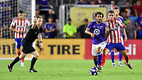 Orlando, FL - Wednesday July 31, 2019:  Carlos Vela #10, Alex dos Santos #37 during the Major League Soccer (MLS) All-Star match between the MLS All-Stars and Atletico Madrid at Exploria Stadium.