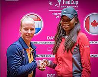 Den Bosch, The Netherlands, Februari 8, 2019,  Maaspoort , FedCup  Netherlands - Canada, Draw, second   match on sunday Richel Hogenkamp NED (L) vs Francoise Abanda (CAN)<br /> Photo: Tennisimages/Henk Koster