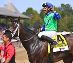 By the Moon (no. 4), ridden by Rajiv Maragh and trained by Michelle Nevin, wins the 39th running of the grade 1 Ballerina Stakes for fillies and mares three years old and upward on August 26, 2017 at Saratoga Race Course in Saratoga Springs, New York. (Bob Mayberger/Eclipse Sportswire)