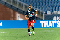 FOXBOROUGH, MA - AUGUST 5: Colin Verfurth #35 of New England Revolution II brings the ball forward during a game between North Carolina FC and New England Revolution II at Gillette Stadium on August 5, 2021 in Foxborough, Massachusetts.