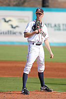 University of Virginia pitcher Kyle Crockett #3 on the mound during a game against the Boston College Eagles at Watson Stadium at Vrooman Field on February 17, 2012 in Conway, SC.  Boston College defeated Virginia 5-3.  (Robert Gurganus/Four Seam Images)