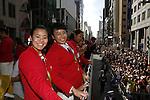 (L-R) Mai Nakamura, Kurumi Yoshida (JPN), OCTOBER 7, 2016 : Japanese medalists of Rio 2016 Olympic and Paralympic Games wave to spectators during a parade from Ginza to Nihonbashi, Tokyo, Japan. (Photo by Yosuke Tanaka/AFLO)