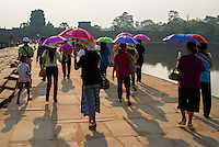 Tourists gathering during Sunrise at AngkorWat, Cambodia