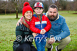 Aifric Rice, River and Gary Kelliher enjoying a stroll in the town park in Killarney on Saturday.