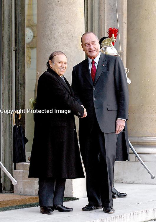 Feb 05, 2003; Paris, Ile de France, France; FRENCH PRESIDENT JACQUES CHIRAC RECEIVED ALGERIAN PRESIDENT ABDELAZIZ BOUTEFLIKA AT ELYSEE PALACE