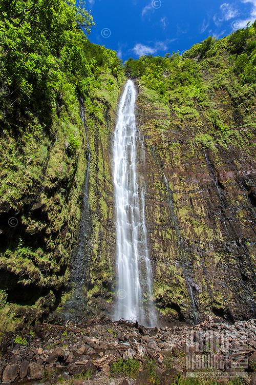 Waimoku Falls along the Pipiwai hiking trail in Haleakala National Park, Kipahulu, Maui.