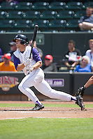 Adam Engel (7) of the Winston-Salem Dash follows through on his swing against the Salem Red Sox at BB&T Ballpark on May 31, 2015 in Winston-Salem, North Carolina.  The Red Sox defeated the Dash 6-5.  (Brian Westerholt/Four Seam Images)