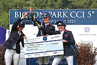 5th September 2021; Bicton Park, East Budleigh Salterton, Budleigh Salterton, United Kingdom: Bicton CCI 5* Equestrian Event; Celebrating top three Piggy March, Gemma Tattersall and Pippa Funnell