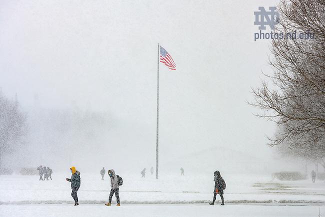 February 4, 2021; Snow falls on South Quad. (Photo by Matt Cashore/University of Notre Dame)