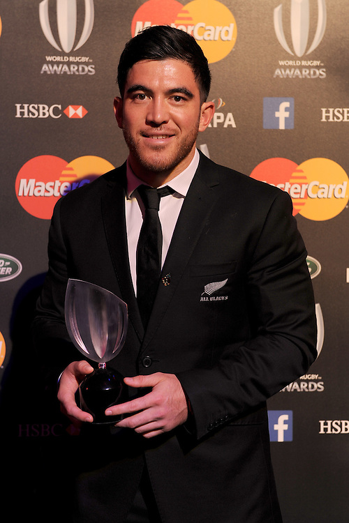 Nehe Milner-Skudder of New Zealand, winner of the Breakthrough Player of the Year award, at the World Rugby Awards 2015  - 01/11/2015 - Battersea Evolution, London<br /> Mandatory Credit: Rob Munro/Stewart Communications