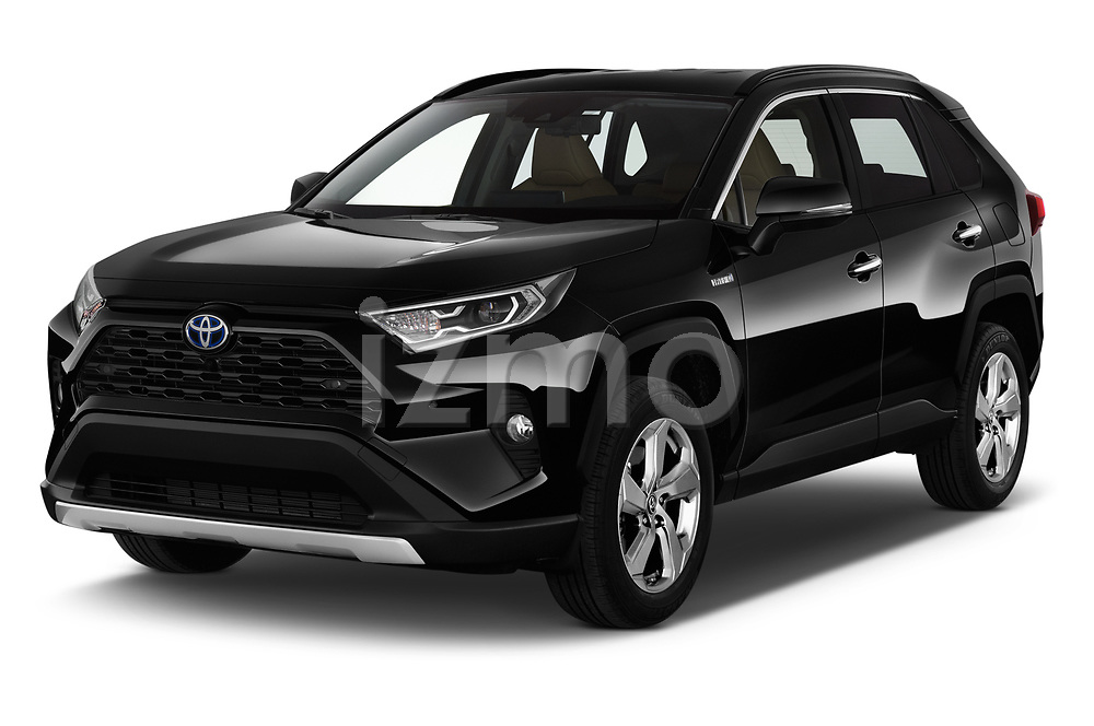 2019 Toyota RAV4 Premium-hybrid 5 Door SUV Angular Front stock photos of front three quarter view