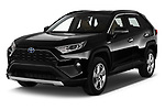2019 Toyota RAV4 Premium-hybrid 5 Door SUV Angular Front stock photos of front three quarter view
